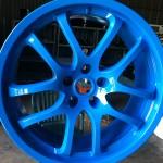 blue powder coated rim
